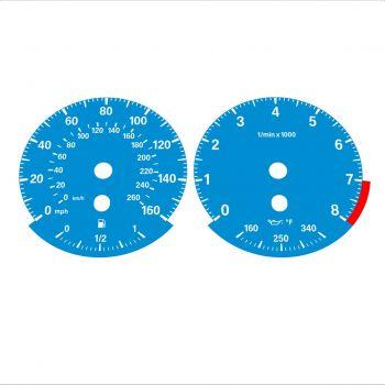 BMW E90 E92 335i 160 MPH+km/h Blue - Standard - 1