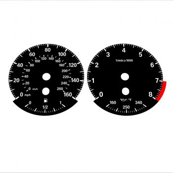 BMW E90 E92 335i 160 MPH+km/h Black - Standard - 1
