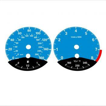 BMW E90 E92 335i 160 MPH+km/h Blue - Black Bottom - 1