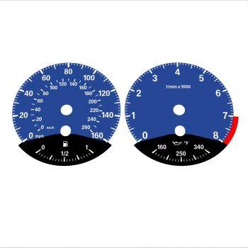 BMW E90 E92 335i 160 MPH+km/h Dark Blue - Black Bottom - 1