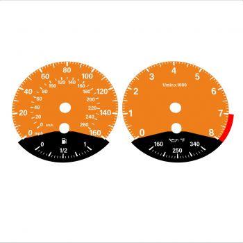 BMW E90 E92 335i 160 MPH+km/h Orange - Black Bottom - 1