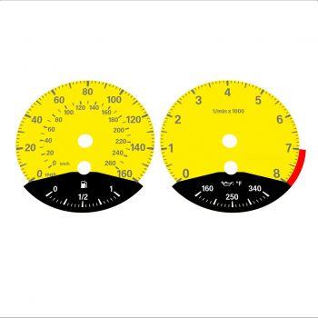 BMW E90 E92 335i 160 MPH+km/h Yellow - Black Bottom - 1