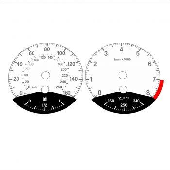 BMW E90 E92 335i 160 MPH+km/h White - Black Bottom - 1