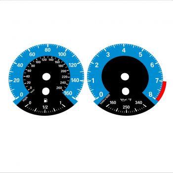 BMW E90 E92 335i 160 MPH+km/h Blue - 1M Style - 1