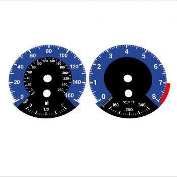 BMW E90 E92 335i 160 MPH+km/h Dark Blue - 1M Style - 1