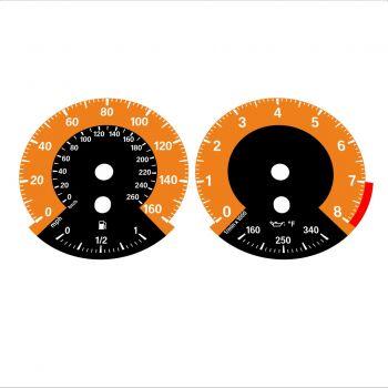 BMW E90 E92 335i 160 MPH+km/h Orange - 1M Style - 1