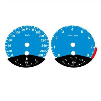 BMW E90 E92 335i 280 KM/H Blue - Black Bottom - 1