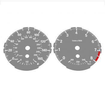 BMW E82 E87 135i 160 MPH + km/h Gray - Standard - 1