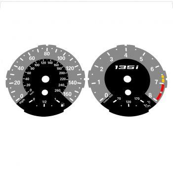 BMW E82 E87 135i 160 MPH + km/h Gray - 1M Style - 1