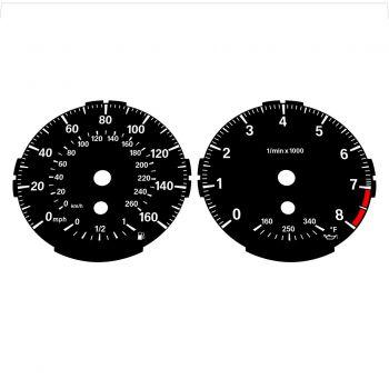 BMW E82 E87 135i 160 MPH + km/h Black - Standard - 1